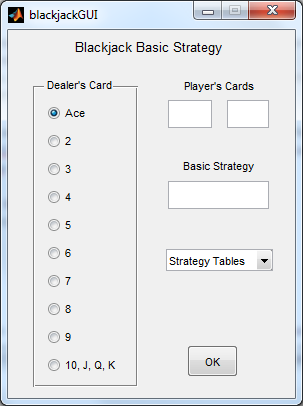 Matlab user interface for blackjack strategy