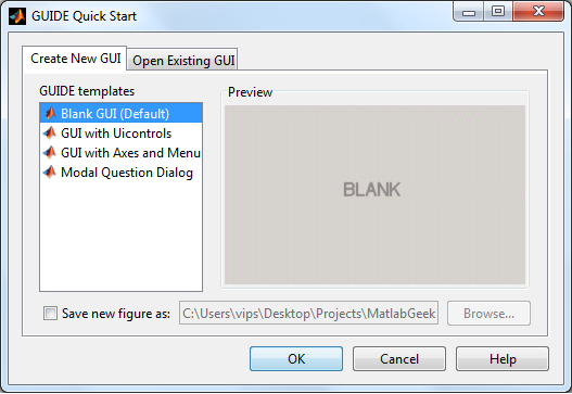 Matlab's guide start window